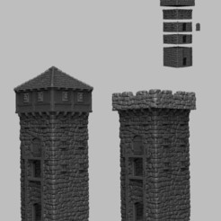 Download STL files Medieval Scenery - Castle Towers, DarkRealms