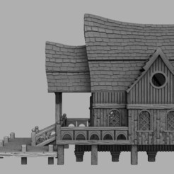 Download 3D printing designs Medieval Scenery - Laketown Townhall, DarkRealms
