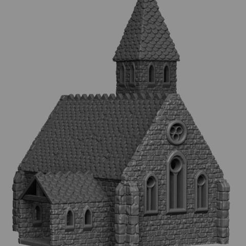 Télécharger plan imprimante 3D Paysage médiéval - Église, DarkRealms
