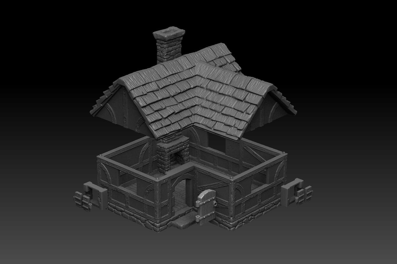 house3_2.jpg Télécharger fichier STL Paysage médiéval - Maison 3 • Design imprimable en 3D, DarkRealms