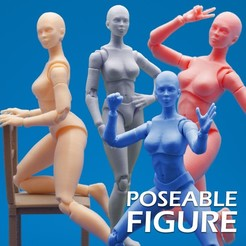 Download 3D printer designs Articulated Poseable Female Figure, RikkTheGaijin