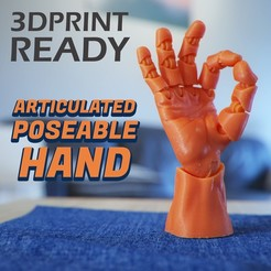 Download 3D printing files Articulated Poseable Hand, RikkTheGaijin
