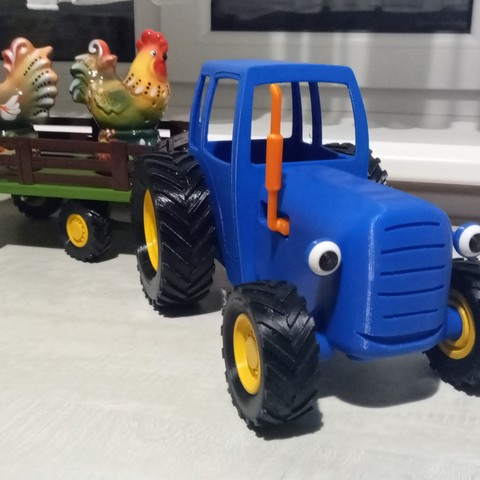 Download 3D printer templates Blue cartoon tractor , sashashab