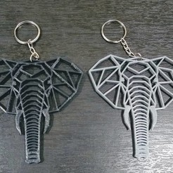 Télécharger fichier imprimante 3D Porte-clés éléphant géométrique, samilena9215