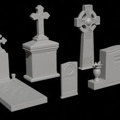 Télécharger objet 3D Pack de 5 - Pierres tombales et pierres tombales, FuturArt-3D