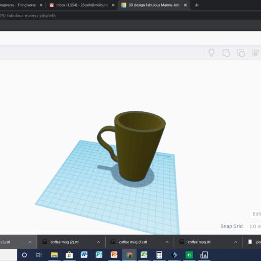 Download free 3D printer templates coffee mug, 25caih