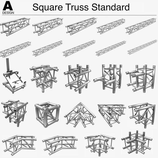 Download 3D printer designs Square Truss Standard Collection (24 Modular Pieces) , akerStudio