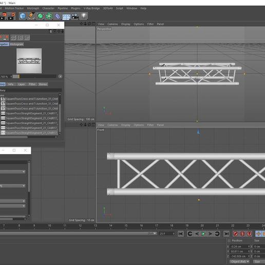 30-21_C4dR17_Vray34.JPG Download free STL file Square Truss Straight Segment 21 • 3D printable object, akerStudio