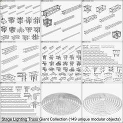Download 3D model Stage Lighting Truss Giant Collection - 149 unique modular objects , akerStudio