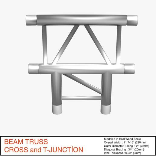 Download free 3D printer designs Beam Truss Cross and T Junction 134, akerStudio
