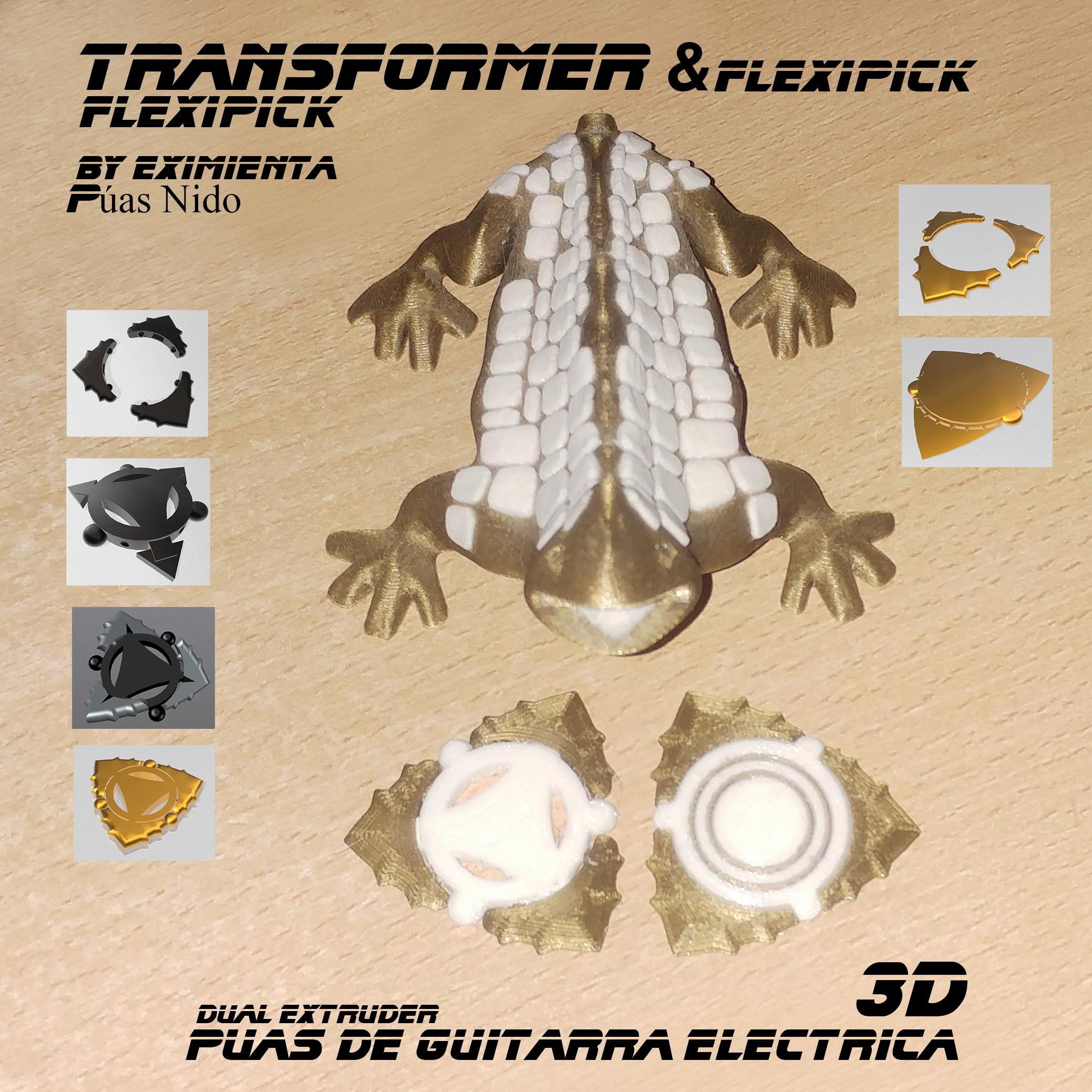 TRANSFORMER 300720 flexipick y Transformer Flexipick.jpg Download free 3MF file FLEXIPICK TRANSFORMER electric guitar pick • 3D printable design, carleslluisar