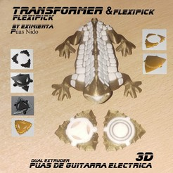 TRANSFORMER 300720 flexipick y Transformer Flexipick.jpg Télécharger fichier 3MF gratuit Plectre de guitare électrique FLEXIPICK TRANSFORMER • Design pour imprimante 3D, carleslluisar