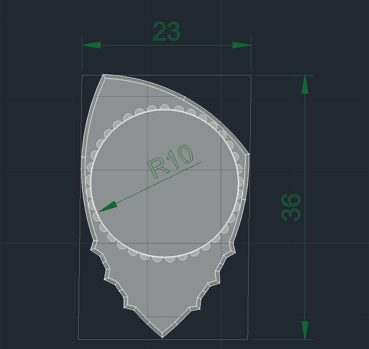 PitaDentFibra concentrico L245 R240grados Rayos-X medidas.jpg Download free 3MF file Carbon Fiber PITA-DENT PLA Poly-Lactic Acid Guitar Spike with TPU Thermoplastic Polyurethane Non-Slip Grip Membrane • 3D printable model, carleslluisar
