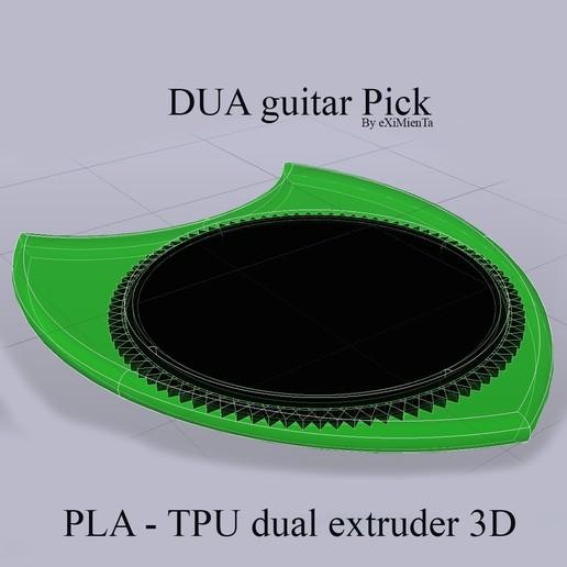 DUA guitar Pick By eXiMienTa PLA - TPU dual extruder 3D.jpg Download free STL file DUA 26X31mm guitar Pick By eXiMienTa PLA - dual extruder 3D TPU • 3D printing object, carleslluisar