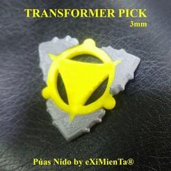 TRANSFORMER PICK 180620.jpeg Télécharger fichier STL gratuit TRANSFORMER PICK & PICKBALL FlexiPick Elastic pour guitare électrique DUAL EXTRUDER 3D • Design à imprimer en 3D, carleslluisar