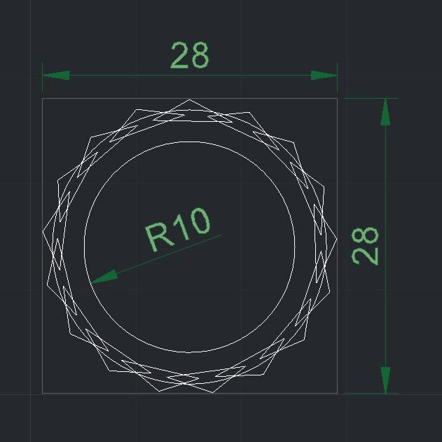 RADON pua nido 28X28 R10 medidas.jpg Download free STL file RADON PICK Pua Nido de Guitarra Electrica / Nesk Pick • 3D printing model, carleslluisar
