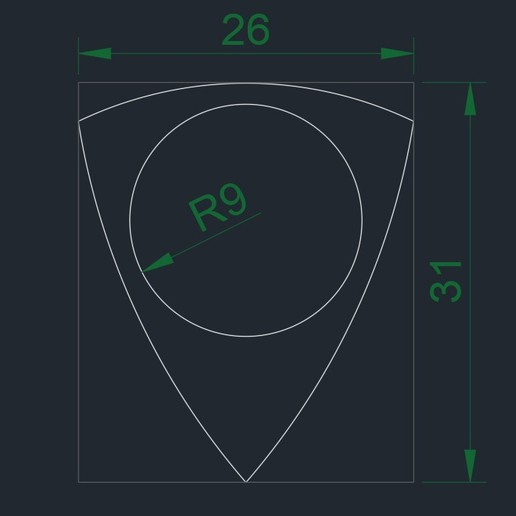 PITA 24102019_1442 medidas.jpg Download free STL file PITA TRI-KAN Nest Pick 26X31mm (Nest Pick Guitar) 251019-2356 • 3D printing template, carleslluisar