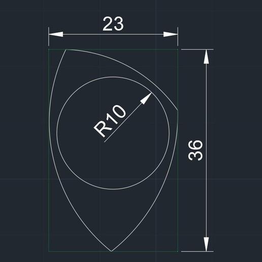 PITA R9'5 23X36 200320 medidas.jpg Descargar archivo STL gratis PITA R9'5 23X36 pua guitarra electrica • Objeto para impresión 3D, carleslluisar