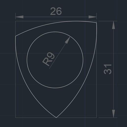 PITA Pua Nido 29919 foto medidas.jpg Télécharger fichier STL gratuit PITA Pua Nido 26X31MM GUITAR PICK BY EXIMIENTA PLA - TPU DUAL EXTRUDER 3D • Modèle pour imprimante 3D, carleslluisar