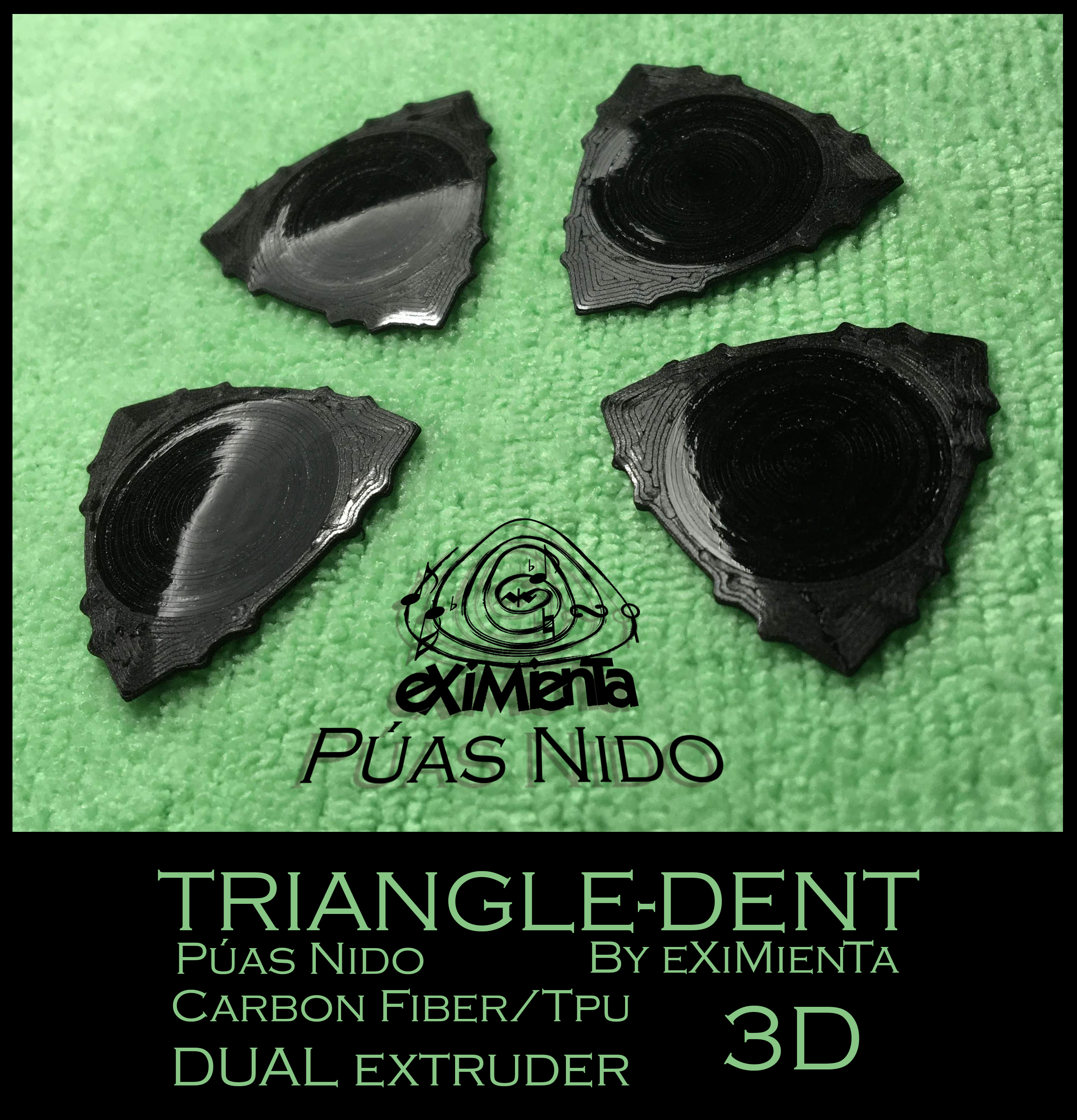 TRIANGLE -DENT Puas Nido Serie Dentadas 28042020 by eXiMienTa.jpg Download free STL file POLY-LACTIC ACID PLA TRIANGLE-DENT CARBON FIBER WITH TPU THERMOPLASTIC POLYURETHANE NON-SKID BAND • 3D printer design, carleslluisar