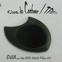 DUA R9'5 28x31 1'15mm.jpg Download free STL file DUA-Lise 1'15R10 28x31 guitar pick • 3D printable object, carleslluisar