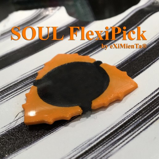 6C56D3C4-EA7B-4FA0-9161-412C220B376D.jpeg Download free 3MF file FLEXIPICK SOUL Triangle-Dent 1'50mm ORUS by eXi - TWO EXTRUDERS - TWO MATERIALS Guitar pick with Soul • 3D printing object, carleslluisar