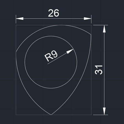 PITA 021020192345 medidas.jpg Télécharger fichier STL gratuit PITA 021020192345 Pua Nido 26X31MMM GUITAR PICK BY EXIMIENTA PLA - TPU DUAL EXTRUDER 3D • Plan à imprimer en 3D, carleslluisar