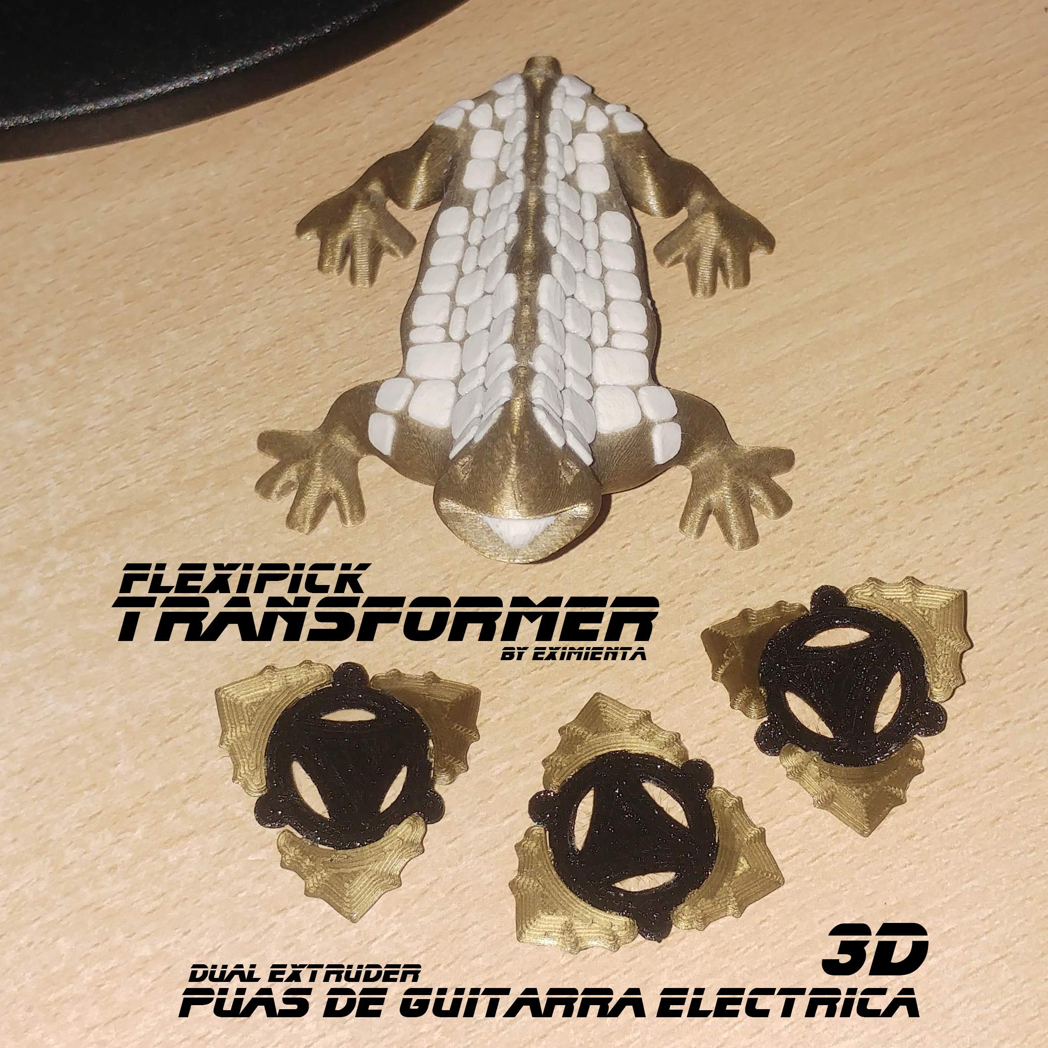 TRANSFORMER 300720.jpg Download free 3MF file FLEXIPICK TRANSFORMER electric guitar pick • 3D printable design, carleslluisar