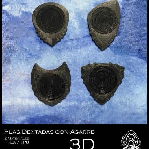UNU PITA DUA TRIANGLE-DENT FC 22042020 foto.JPG Télécharger fichier STL gratuit UNU-DENT 3D Guitar Tine 2 Materials PLA / TPU Serrated Tines • Plan pour imprimante 3D, carleslluisar