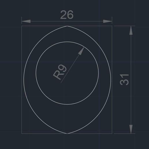 OKU Pua Nido 28919 foto medidas.jpg Télécharger fichier STL gratuit OKU Pua Nido 26X31MM GUITAR PICK BY EXIMIENTA PLA - TPU DUAL EXTRUDER 3D • Modèle imprimable en 3D, carleslluisar