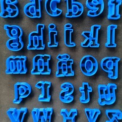 Descargar archivo 3D complete alphabet cookie cutter in lower case, NicoDLC