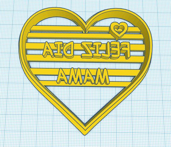 feliz dia mama.png Télécharger fichier STL gratuit Joyeuse Fête des Mères Coeur Coeur Cuisinière à Biscuits • Plan pour imprimante 3D, NicoDLC