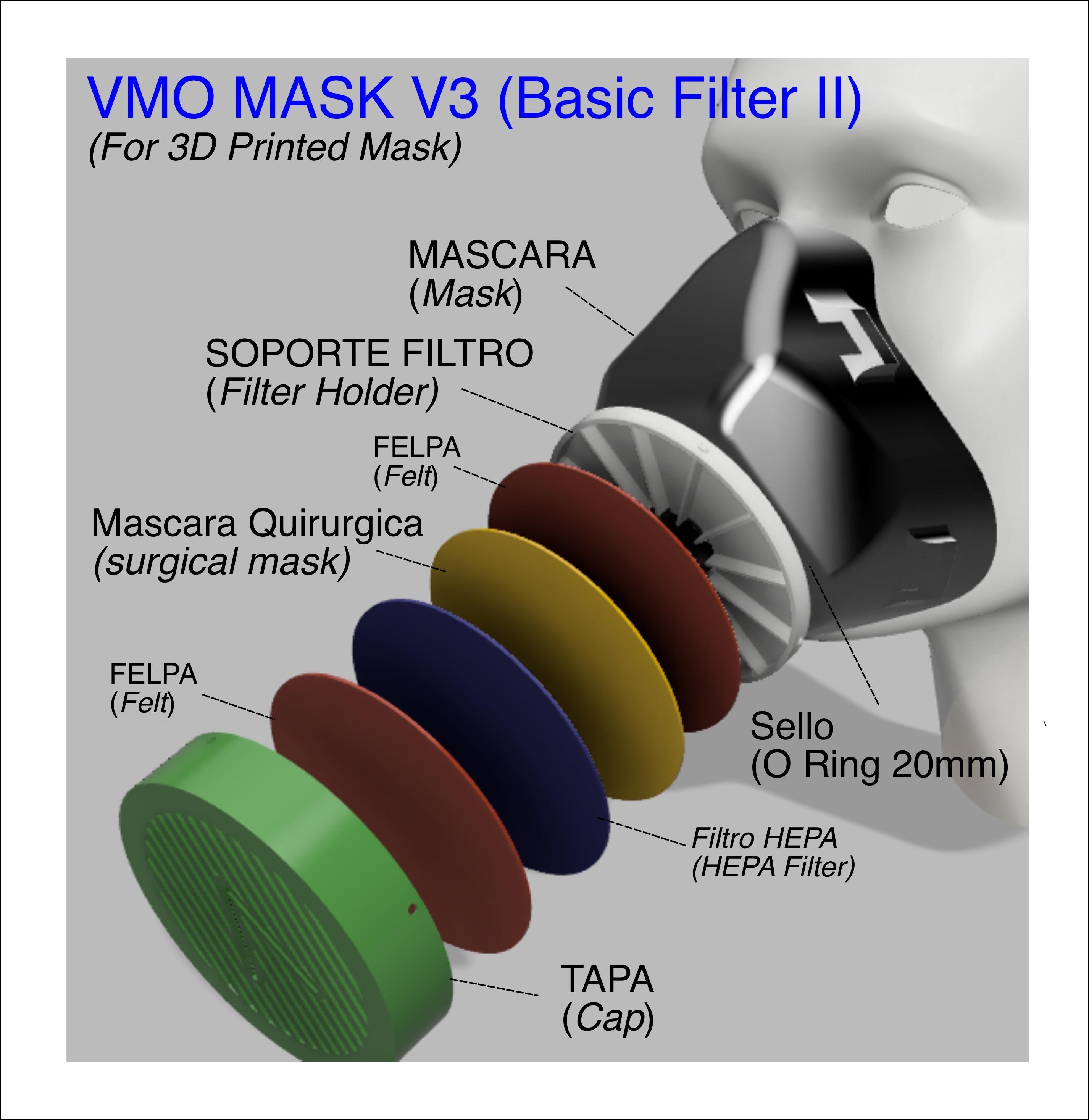 2- Filtro.jpg Download free STL file  VMO MASK V3 - 3D-PRINTED PROTECTIVE- Coronavirus COVID-19 (Improved Version) • Model to 3D print, victorottati