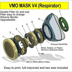 N3.jpg Download STL file VMO MASK V4 - RESPIRATOR - Coronavirus COVID-19 • 3D printer object, victorottati