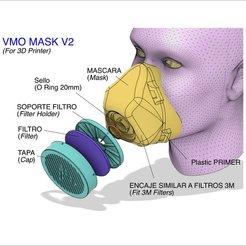Descargar archivos 3D gratis MÁSCARA VMO V2 - PROTECTORA IMPRESIONADA EN 3D - Coronavirus COVID-19, victorottati
