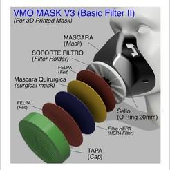Descargar modelos 3D gratis MÁSCARA VMO V3 FILTRO BÁSICO - PROTECTOR IMPRESO EN 3D - Coronavirus COVID-19, victorottati