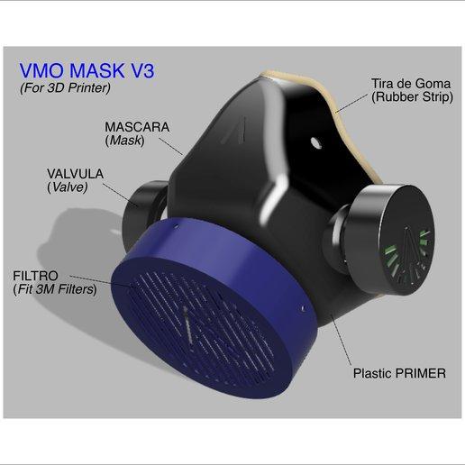 VMO Mask V3 (P1).jpg Download free STL file  VMO MASK V3 - 3D-PRINTED PROTECTIVE- Coronavirus COVID-19 (Improved Version) • Model to 3D print, victorottati