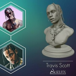 01.jpg Download OBJ file Travis Scott 3D sculpture ready to 3D print • 3D printer object, selfix