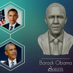 01.jpg Télécharger fichier OBJ Le buste de Barack Obama prêt à être imprimé en 3D • Modèle à imprimer en 3D, selfix