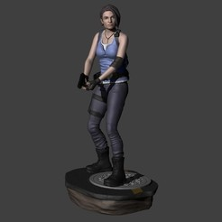 Descargar archivo 3D Jill Valentine Resident Evil 3 Remake con 2 bases, ecriativo3d