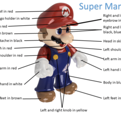 Download free 3D printer templates Super Mario scaled up to 390% - now are all parts printable, ZepTo