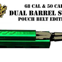 Download free 3D printer files paintball 68 cal and 50 cal barrel swab belt case pouch holder, UntangleART