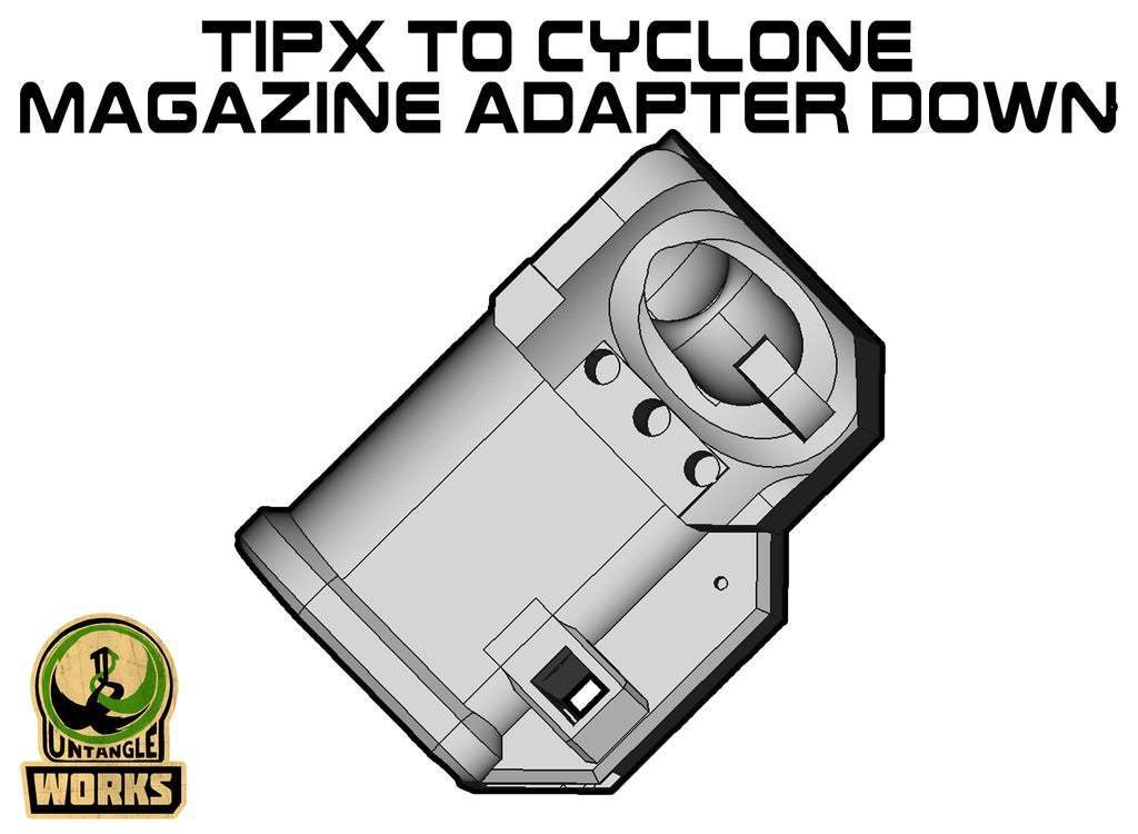 TIPX_CY_DOWN.jpg Download free STL file TIPX to cyclone Magazine Adapter down ABD • Design to 3D print, UntangleART