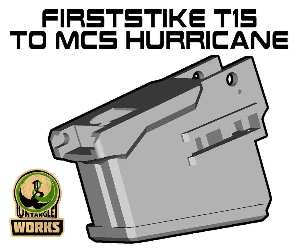 T15_to_MCS_Hurricane.jpg Download free STL file Firststrike T15 to MCS Hurricane Adapter • 3D printing template, UntangleART