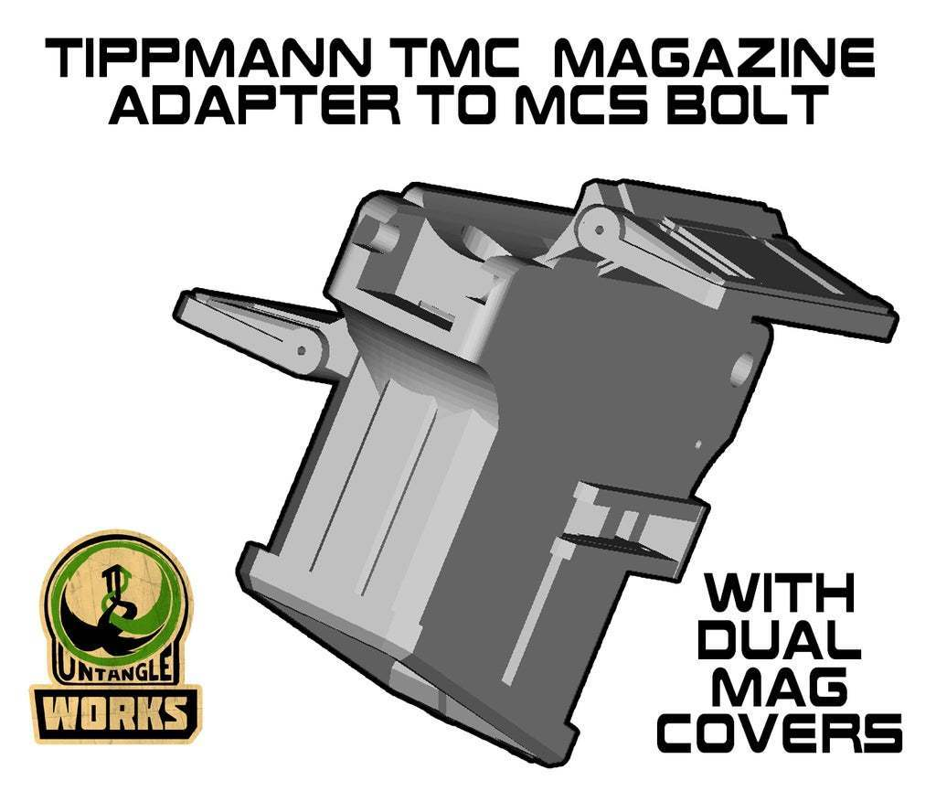BOLT_TMC_DMC.jpg Download free STL file Tippmann TMC to MCS BOLT or Blizzard Adapter with dual mag cover • 3D print model, UntangleART