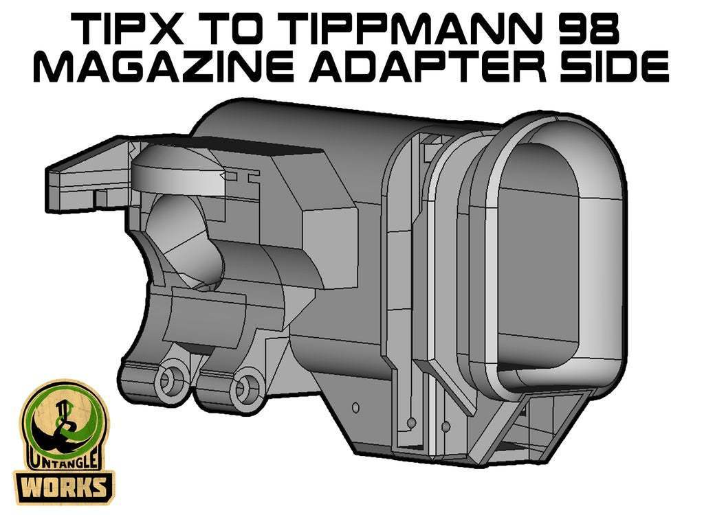 TIPX_TIP98_SIDE.jpg Download free STL file Tippmann TiPX to tippmann 98 Mag Adapter side • Template to 3D print, UntangleART