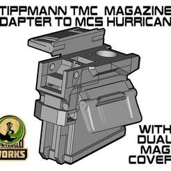 Huricane_TMC_DMC.jpg Download free STL file Tippmann TMC to MCS hurricane Adapter with dual mag cover • 3D printable template, UntangleART