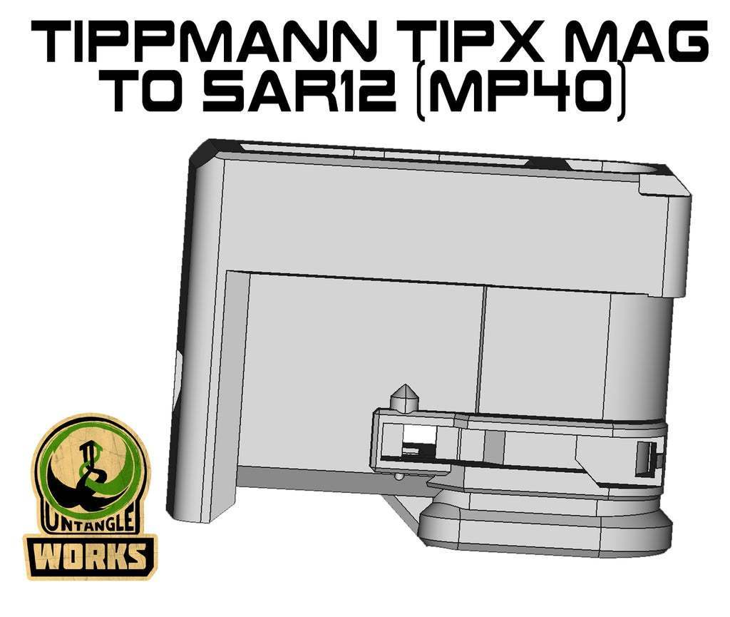 TIPX_toSAR12_MP40.jpg Download free STL file Tippmann TiPX MP40 model Mag to SAR12 Adapter • Model to 3D print, UntangleART