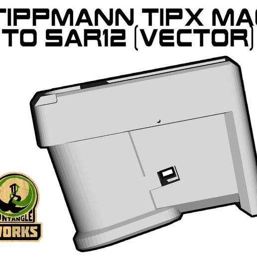 TIPX-toSAR12-VEC.jpg Download free STL file Tippmann TiPX vector model Mag to SAR12 Adapter • 3D printer design, UntangleART