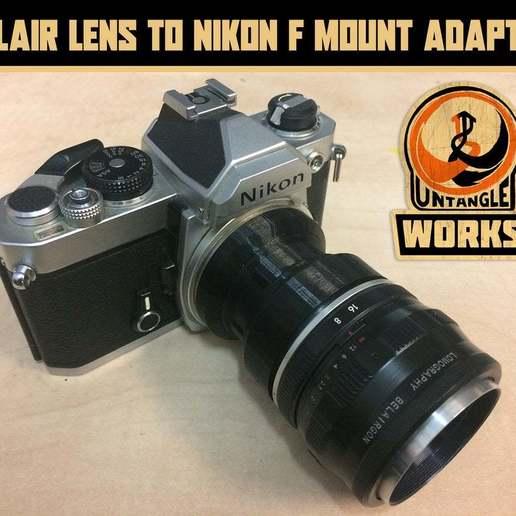 Télécharger plan imprimante 3D gatuit lomo Belair à l'adaptateur pour monture Nikon F, UntangleART